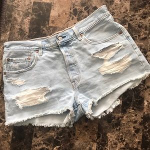 501 ButtonFly Distressed High Waisted Jean Shorts